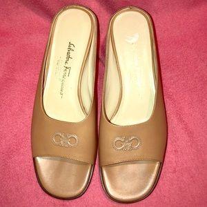 Vintage Ferragamo Leather Peep Toe Slides